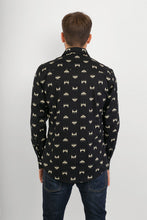 Reindeer Black Print Cotton Slim Fit Mens Shirt Long Sleeve - Avalonia, Avalonia - Avalonia