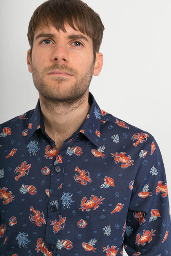 Crabs-Lobster-Sea-Life-Blue-Print-Cotton-Mens-Long-Sleeve-Shirt-Avalonia-Avalonia-Avalonia