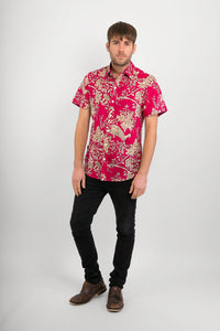 Pink Peacock Flowers Print Cotton Slim Fit Mens Shirt Short Sleeve - Avalonia, Avalonia - Avalonia