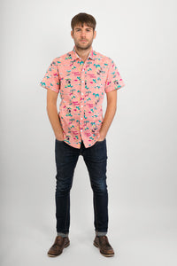 Pink Hawaii Aloha Print Cotton Slim Fit Mens Shirt Short Sleeve - Avalonia, Avalonia - Avalonia