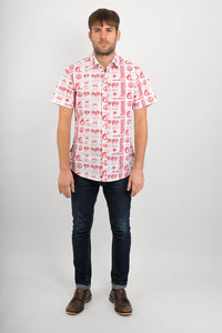 Hawaiian-Campervan-White-Print-Cotton-Slim-Fit-Mens-Shirt-Short-Sleeve-Avalonia-Avalonia - Avalonia