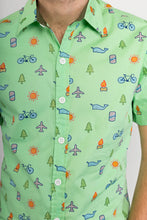 Green Whale Plane Bike Tree Print Cotton Slim Fit Mens Shirt Short Sleeve - Avalonia, Avalonia - Avalonia