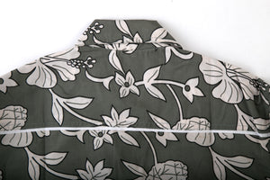 Grey White Floral Print Cotton Slim Fit Mens Shirt Long Sleeve