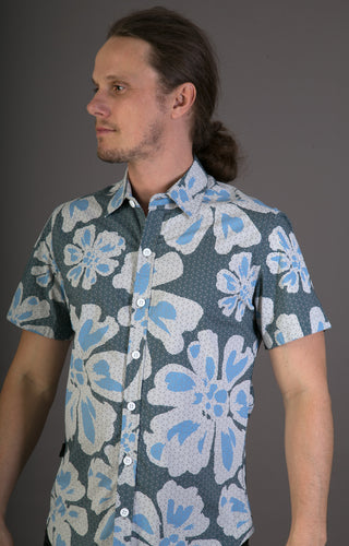 Big Floral Blue Aloha Print Cotton Slim and Regular Fit Mens Shirt Short Sleeve