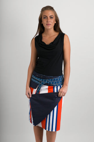 Reversible Cotton Skirt Denim Orange Blue White Stripe Print Blue Print Belt with Detachable Pocket - Avalonia, Avalonia - Avalonia