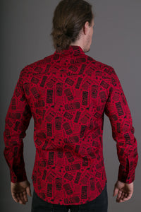 Red Totem Aztec Print Cotton Slim Fit Mens Shirt Long Sleeve
