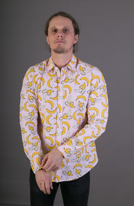 Banana Fruit Pink Cotton Slim-Fit Long-Sleeve Shirt