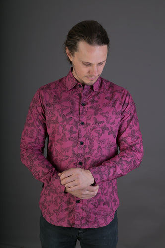 Purple Butterfly Print Cotton Slim Fit Mens Shirt Long Sleeve