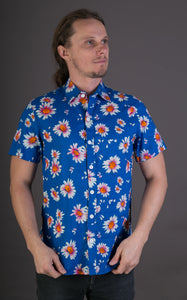 Blue Floral Print Cotton Slim and Regular Fit Mens Shirt Short Sleeve