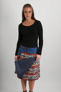Reversible Cotton Skirt Brown Patch Denim Detachable Pocket - Avalonia, Avalonia - Avalonia