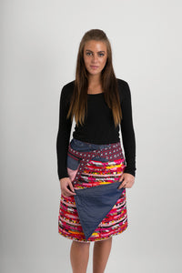 Reversible Cotton Skirt Red Patch Denim Detachable Pocket