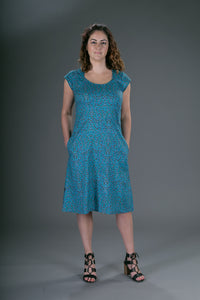 Summer Cotton Dress Blue Floral Print