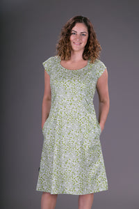 Summer Cotton Dress Green Floral Print