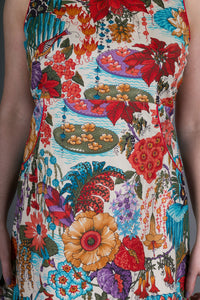 Cotton Dress Red Floral Garden Print with Pockets