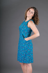 Cotton Dress Blue Floral Print with Pockets