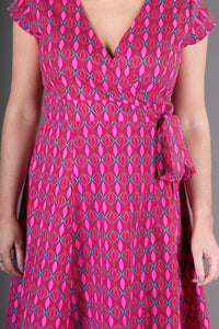 Wrap Cotton Dress Pink Geometric Print