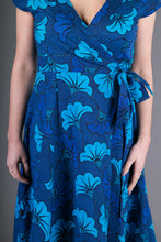 Wrap Cotton Dress Blue Floral Print