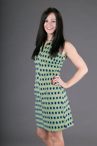 Classic Sheath Cotton Dress Blue Yellow Geometric Print