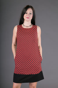 60s Style Cotton Dress Red Print with Pockets