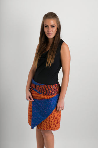 Reversible Cotton Skirt Orange Blue Print Orange Blue Print Belt with Detachable Pocket