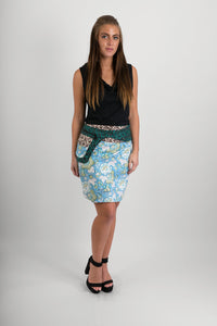 Reversible Cotton Skirt Blue Floral Brown Grey Cross Print Green Print Belt with Detachable Pocket