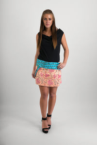Reversible Cotton Skirt Blue Pink Cream Print Blue Print Belt with Detachable Pocket