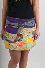 Reversible Cotton Skirt Orange Yellow Floral Purple Birds Grey Floral with Detachable Pocket
