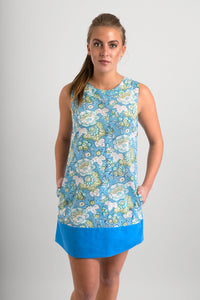60s-Style-Cotton-Dress-Blue-Floral-Print-Pockets - Avalonia, Avalonia - Avalonia