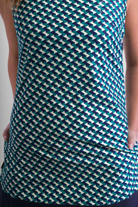 60s -Style-Cotton-Dress-Green-Blue-Print-with-Pockets - Avalonia, Avalonia - Avalonia