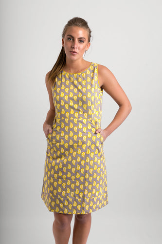 Cotton Dress Grey Yellow Print with Pockets - Avalonia, Avalonia - Avalonia
