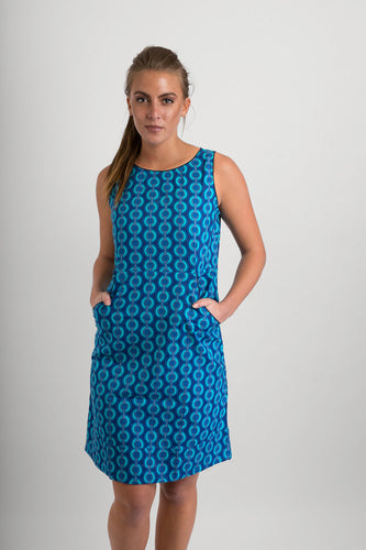 Cotton Dress Bue Print with Pockets - Avalonia, Avalonia - Avalonia
