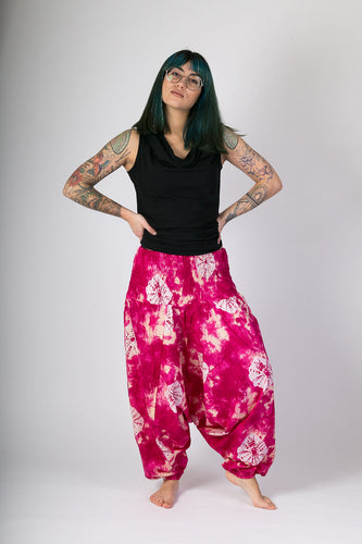 Pink Tie Dye Print Cotton Hareem Yoga Jumpsuit Pants - Avalonia, Avalonia - Avalonia