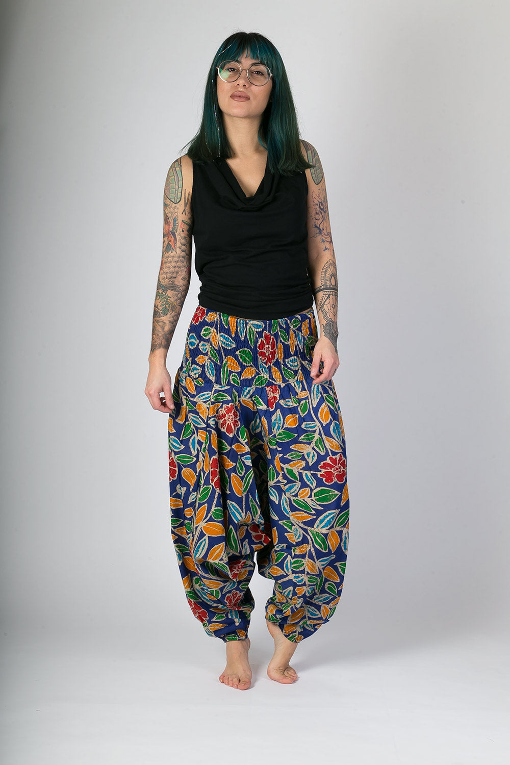 Blue-With-Colours-Floral-Print-Cotton-Hareem-Yoga-Jumpsuit-Pants-Avalonia-Avalonia-Avalonia