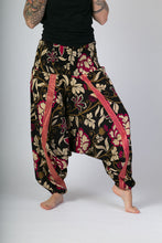 Black-Pink-Print-Cotton-Hareem-Yoga-Jumpsuit-Pants - Avalonia, Avalonia - Avalonia