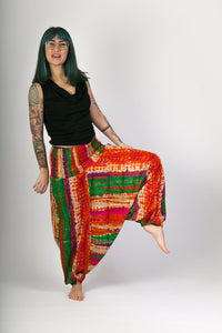 Red Green Print Cotton Hareem Yoga Jumpsuit Pants - Avalonia, Avalonia - Avalonia