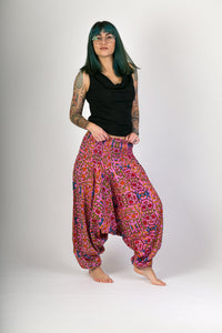 Pink Floral Print Cotton Hareem Yoga Jumpsuit Pants - Avalonia, Avalonia - Avalonia