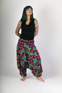 Green Purple Print Cotton Hareem Yoga Jumpsuit Pants - Avalonia, Avalonia - Avalonia