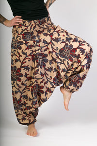 Blue Red Floral Print Cotton Hareem Yoga Jumpsuit Pants - Avalonia, Avalonia - Avalonia