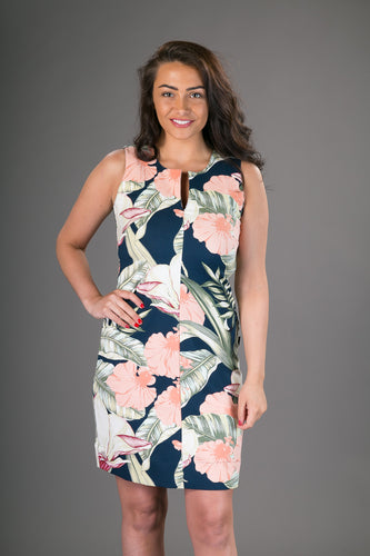 Classic Sheath Cotton Dress Blue Pink Floral Print