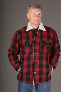 Red Black Lumberjack Wool Mens Winter Jacket Shearling Lining