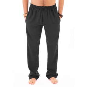 Mens Black Trousers Cotton Yoga Casual Elasticated Draw String Waist  Pockets - Avalonia, Avalonia - Avalonia