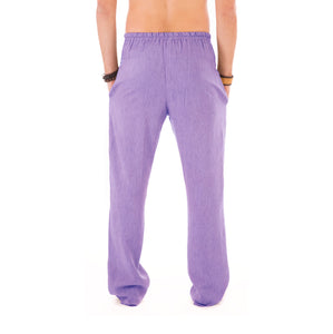 Mens Purple Trousers Cotton Yoga Casual Elasticated Draw String Waist  Pockets - Avalonia, Avalonia - Avalonia