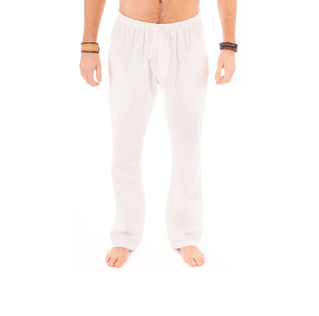 Mens Off White Trousers Cotton Yoga Casual Elasticated Draw String Waist Pockets - Avalonia, Avalonia - Avalonia