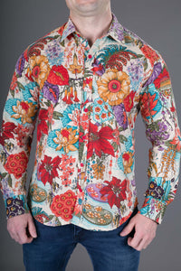 Floral Print Cotton Slim Fit Mens Shirt Long Sleeve