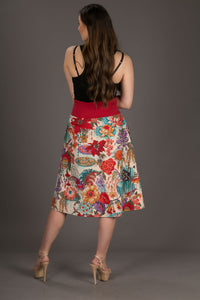 Reversible Midi Skirt Peacock Floral Print with Pockets