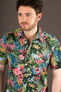 Multi Colour Jungle Print Cotton Slim Fit Mens Shirt Short Sleeve