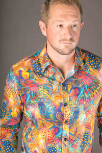 Peacock Colourful Print Cotton Slim Fit Mens Shirt Long Sleeve