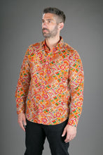 Orange Multi Colour Print Cotton Slim fit Long-Sleeve Mens Shirt