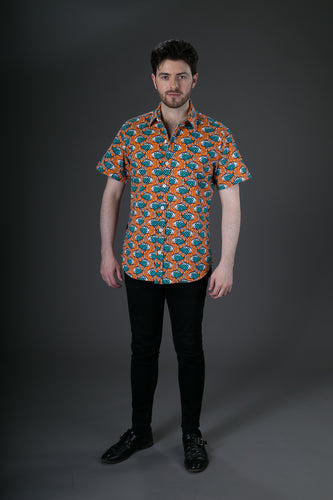 Orange Fish Print Cotton Slim Fit Mens Shirt Short Sleeve