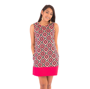 60s-Style-Cotton-Dress-Pink-Black-White-Print-with-Pockets - Avalonia